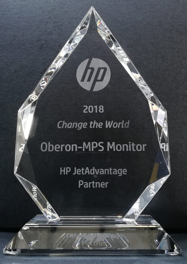 Oberon and MPS Monitor win the HP JetAdvantage Partner Change the World 2018 award