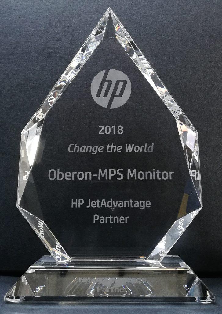 Oberon and MPS Monitor win the HP JetAdvantage Partner Change the World 2018 award